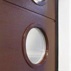 Garagentor in braun mit Fenster (rund) | CLASSIC