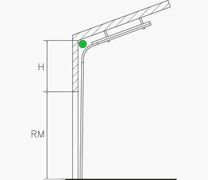 Höhergeführte Umlenkung mit Dachfolge und oben liegender Federwelle | Industrie Sektionaltore