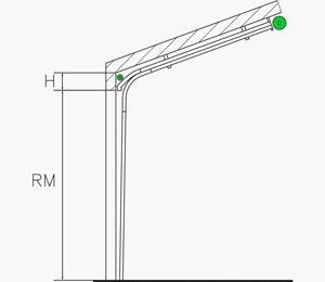 Niedrigsturz-Umlenkung mit Dachfolge | Industrie Sektionaltore
