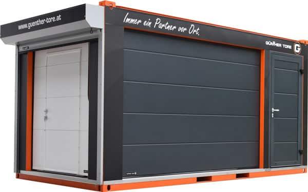 Mobiler Schauraum mit Garagentor, Industrietor, Rolltor und Nebentür