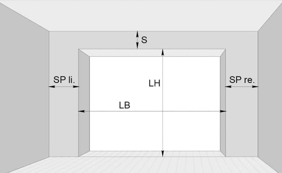Skizze Abmessungen Garagentor-Kalkulator